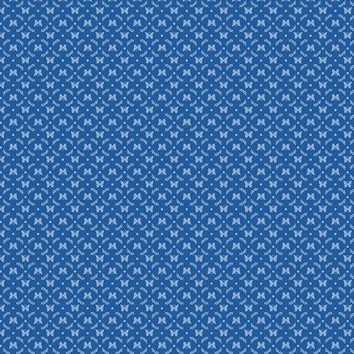 Benartex BUNNIES & BLOSSOMS Mini Butterfly Cameo Blue 0969655B