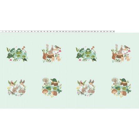 Clothworks Woodland Wander Panel Y2589-109 Green
