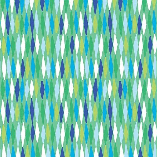 Benartex Abstract Garden PICKET FENCES GREEN AQUA 3502-44