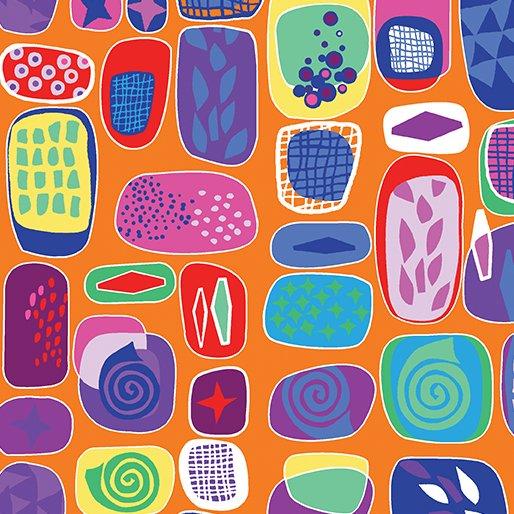 Benartex Abstract Garden RAISED BEDS ORANGE 3499-38