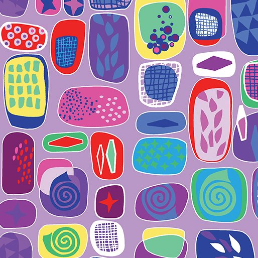 Benartex Abstract Garden RAISED BEDS PURPLE 3499-66