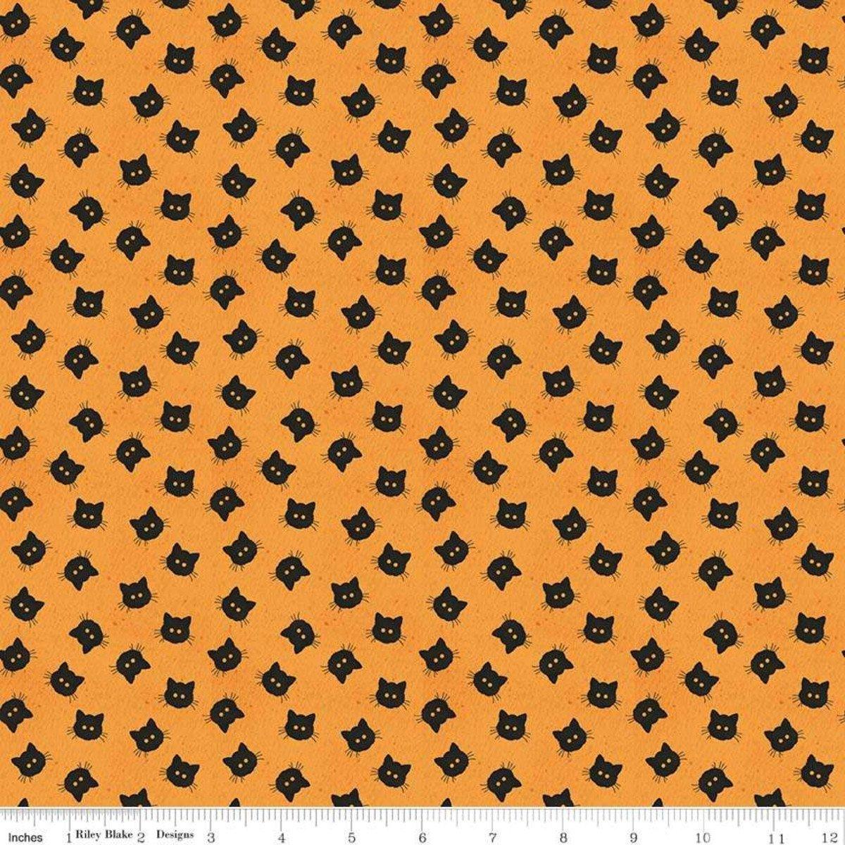 Riley Blake Costume Maker's Ball Scaredy Cat Buttons Orange C8367-ORANGE