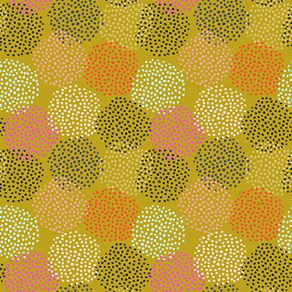 Floral Waterfall  Flower  Dots  Olive PWSN005 8OLIV