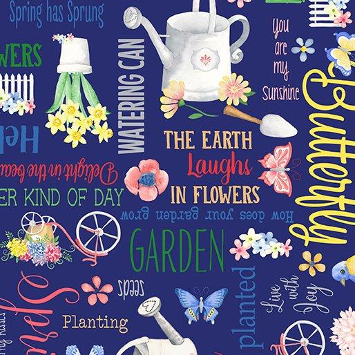 Benartex BUNNIES & BLOSSOMS Spring Garden Navy 0968955B