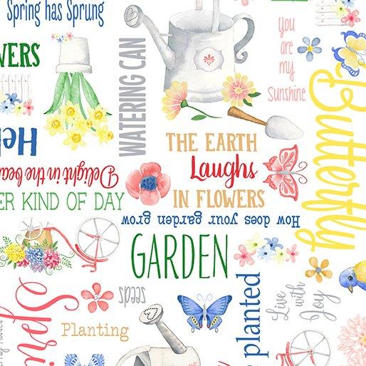 Benartex BUNNIES & BLOSSOMS Spring Garden White 0968909