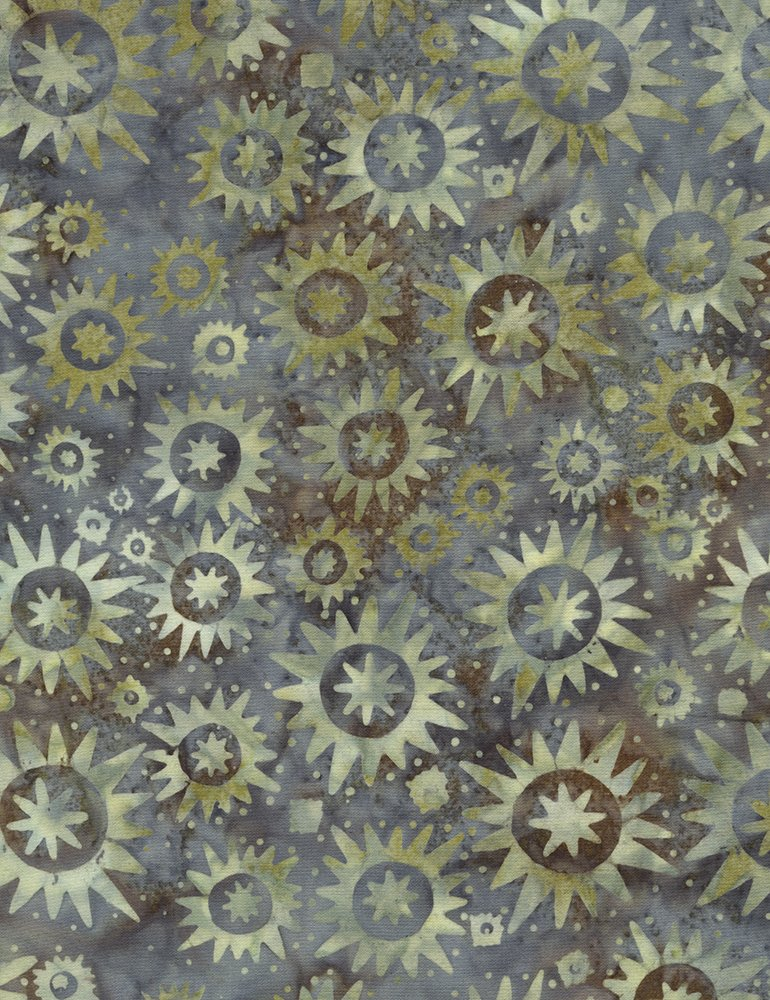 Timeless Treasures Antique Garage Starbursts Batik Tonga-B4931-Lake