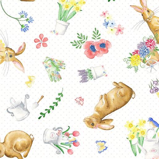 Benartex BUNNIES & BLOSSOMS Sweet Bunny Allover White 0969309B
