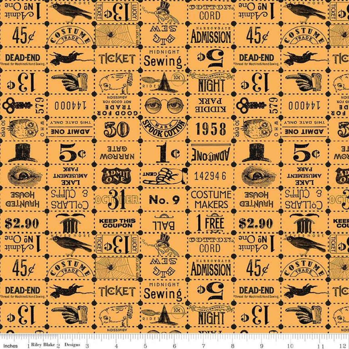 Riley Blake Costume Maker's Ball Ticket Grid Orange C8369-ORANGE