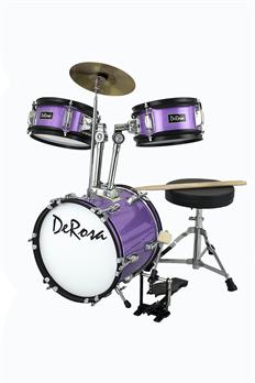 De Rosa 3 Piece Mini Drum Kit in Purple Sparkle