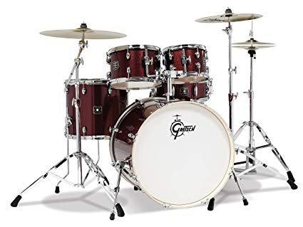 Gretsch Energy 5 Piece Set w Full Hardware Package & Zildjian Cymbals Ruby Sparkle