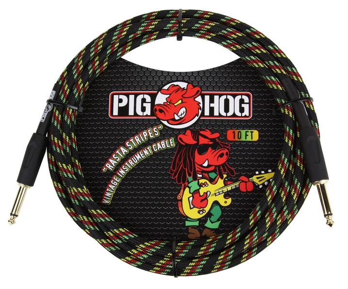 Pig Hog Rasta Stripes Instrument Cable 10ft
