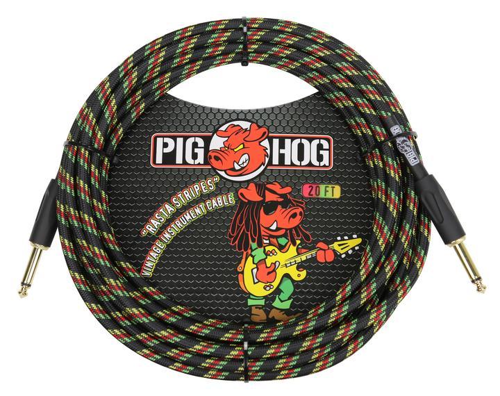 Pig Hog Rasta Stripes Instrument Cable 20ft