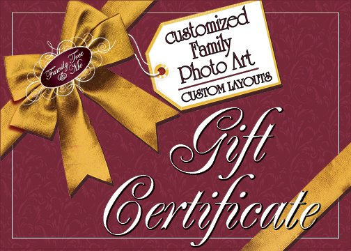 GIFT CERTIFICATE.CUSTOM LAYOUT Photo Family Tree