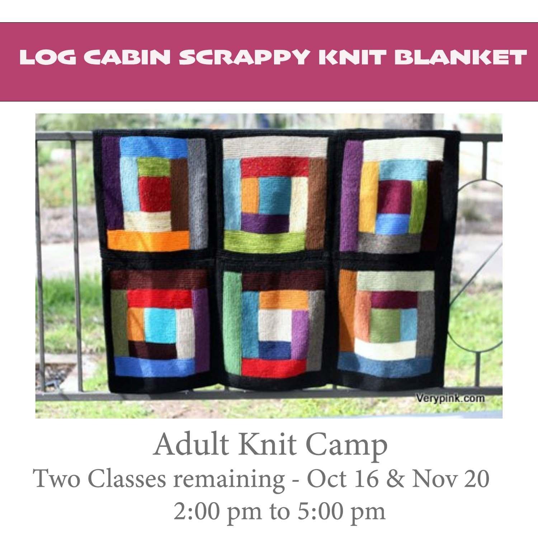 Knit Camp For Adults/Log Cabin Scrap Blanket