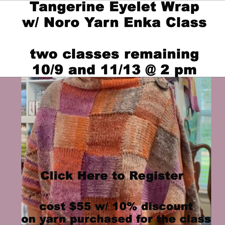 Tangerine Eyelet Wrap w/ Noro Yarn Enka