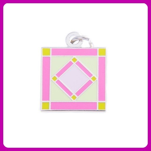Quilt Charm...Square in a Square - pink