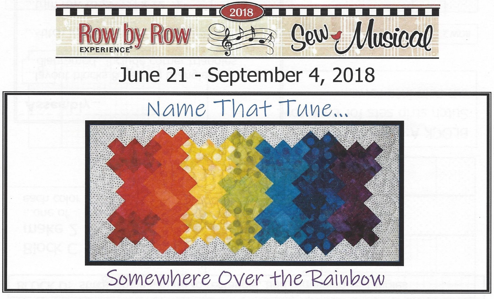 Row by Row - 2018 ...Name That Tune ~ Somewhere Over the Rainbow