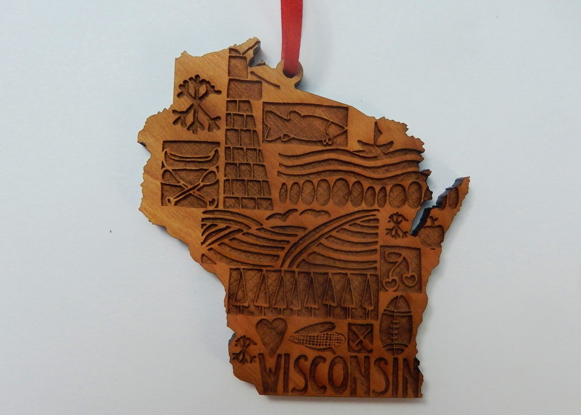 Wisconsin patchwork ornament