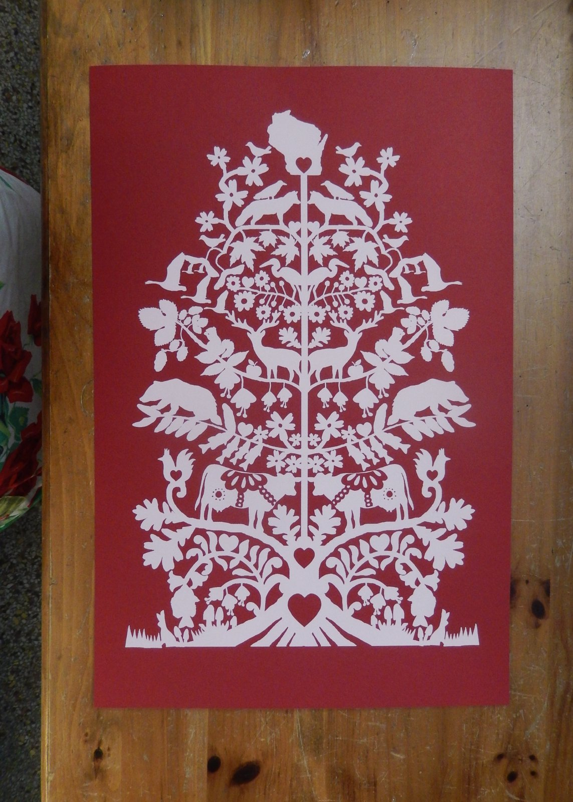 Wisco Tree of Life Print Red
