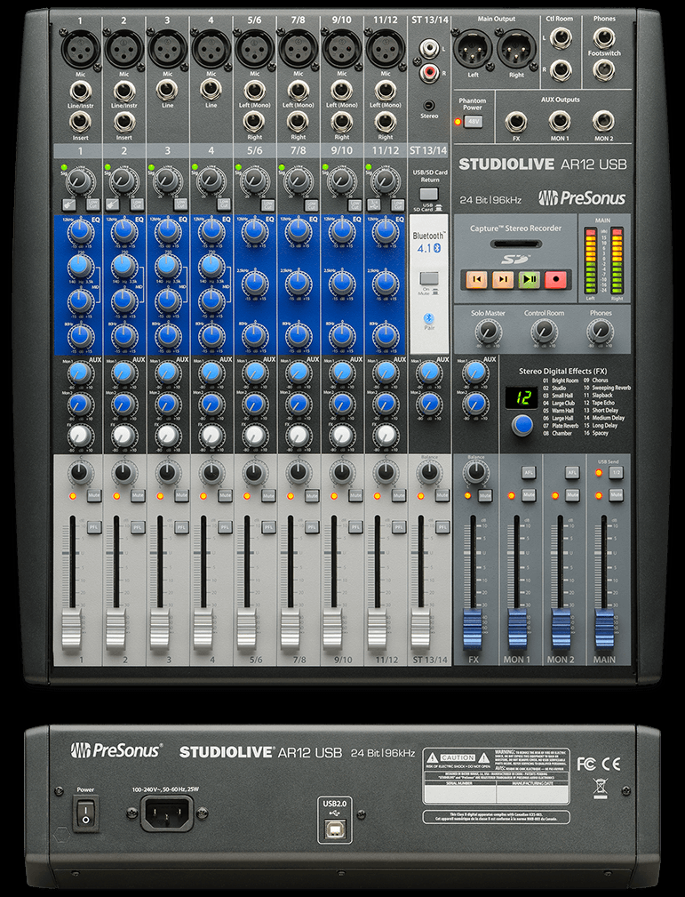 Presonus AR12 StudioLive 14 CH Hybrid Digital/Analog Mixer W/SD Card Recorder/Player
