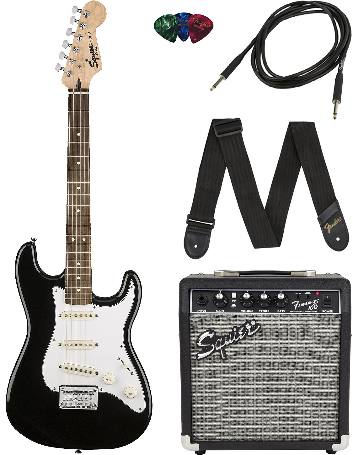 Squier Black Short Scale Stratocaster Pack
