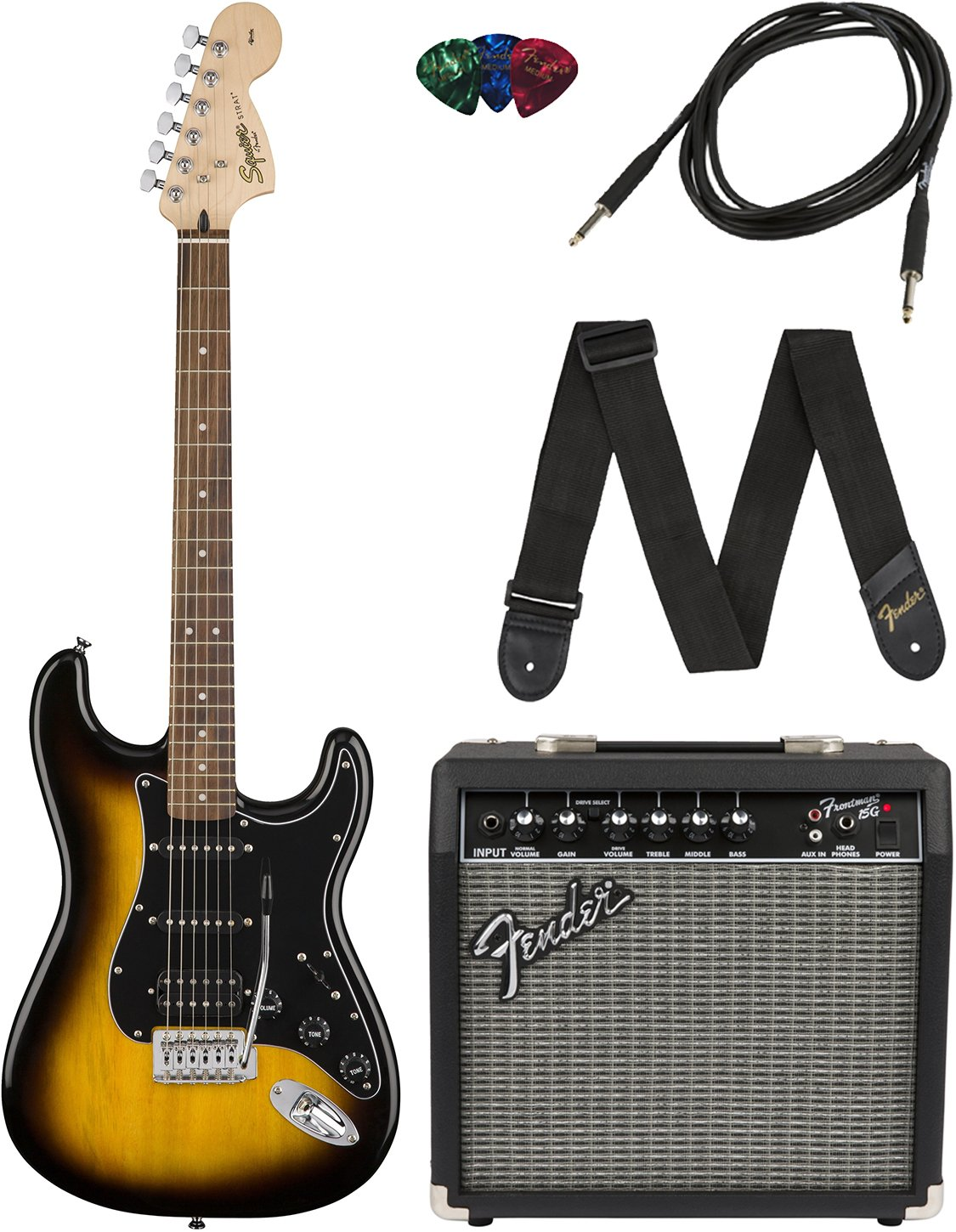 Squier Brown Sunburst Strat HSS Pack
