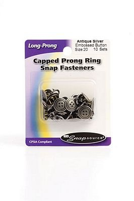 Capped Snap Sz. 20 Antique Silver Embossed Button