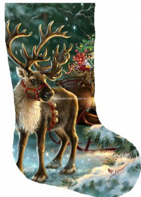 -3- 417 Enchanted Christmas Reindeer Stocking by Heaven & Earth 417