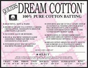 Crib Nat. Select Cotton 60X46  Batting
