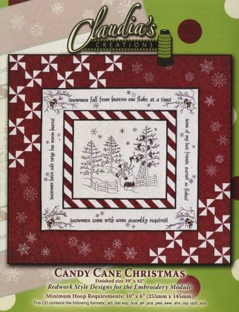 Candy Cane Christmas Machine Embroidery CD