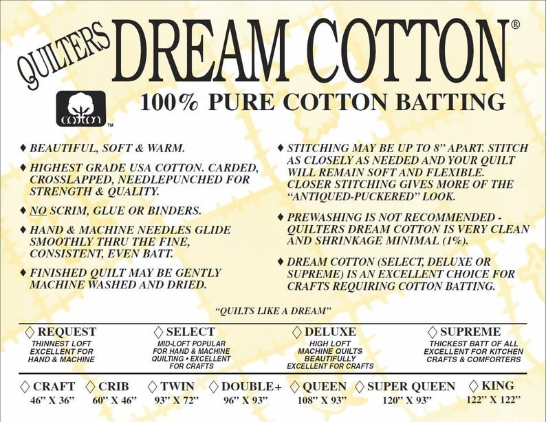 Queen Supreme Cotton  108x93 Batting