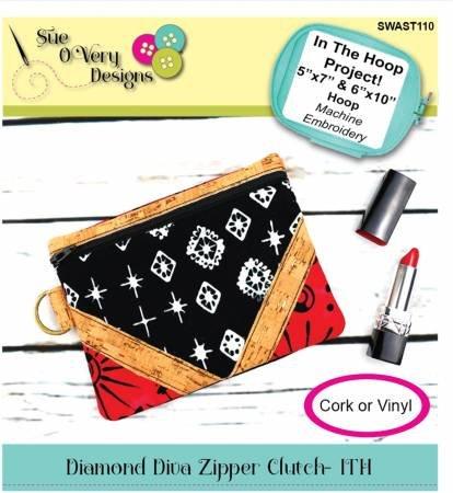 Diamond Diva Zipper Clutch In The Hoop Project Machine embroidery