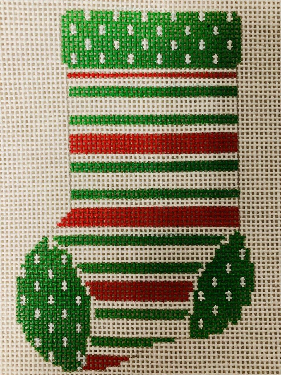 Mini Sock red/wht/grn stripe ASIT101