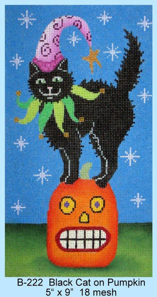Black Cat on Pumpkin B-222