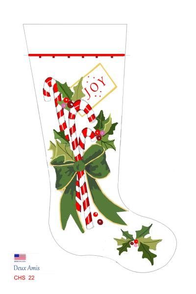 Candy Canes Bow & Holly CHS 22