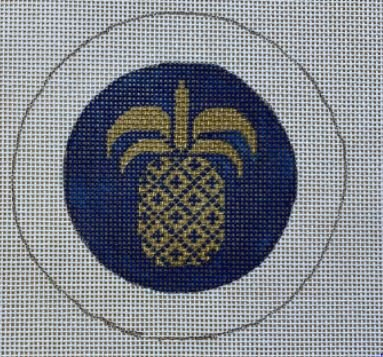 Gold Pineapple on Navy BC8 Button Cover