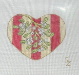 Mistletoe w/ Red Stripes Heart