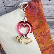 Acrylic Heart Stitch Marker Holder fob