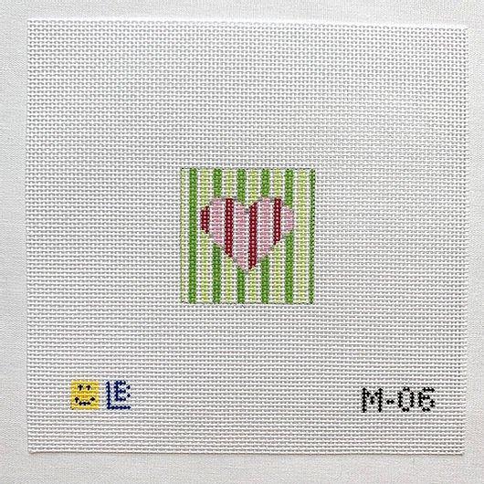 Raspberry Heart Lime Stripes M-06