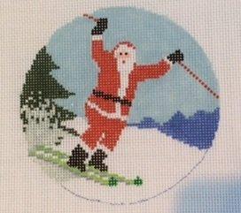 Sporty Santa Ornament-Skier AOK04