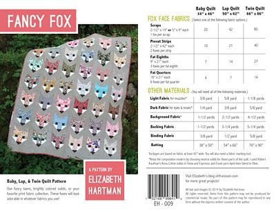 Fancy Fox Pattern  Elizabeth Hartman