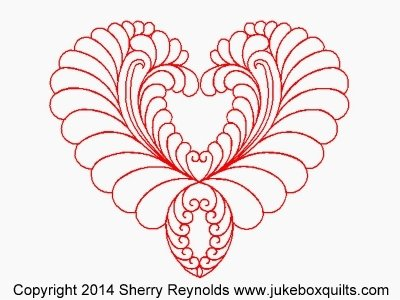 JBSR Feathered Heart Drop Block