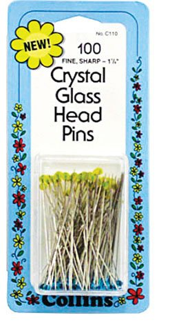 Pins Crystal Glass Head .5mm 1 7/8 long