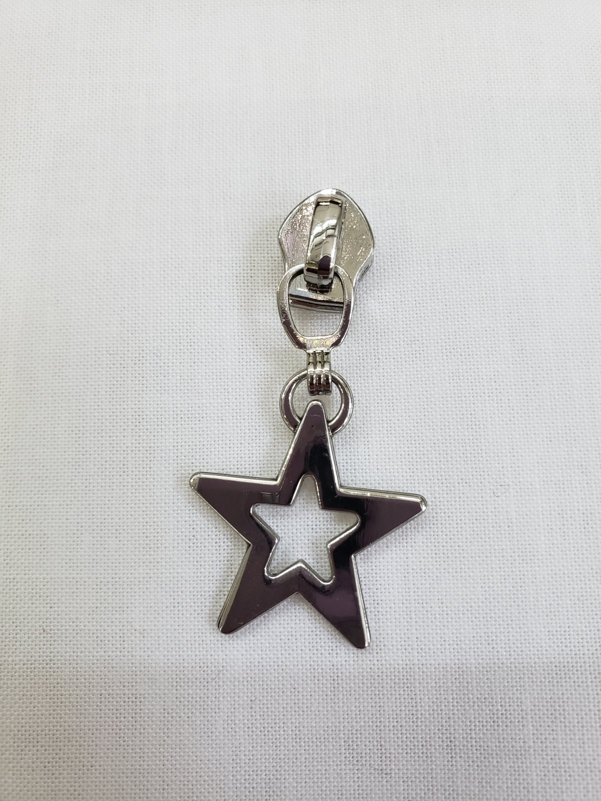 Silver star zipper pull for rainbow zipper
