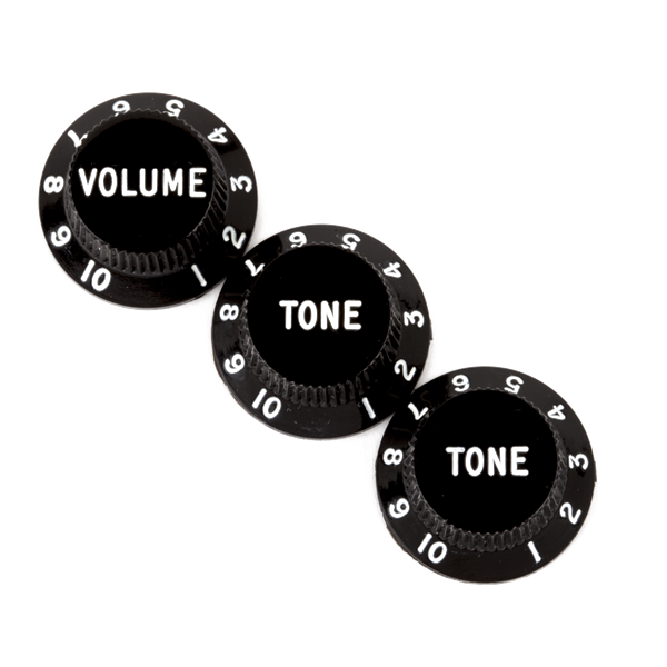 Fender Stratocaster Knobs, Black (Volume, Tone, Tone)
