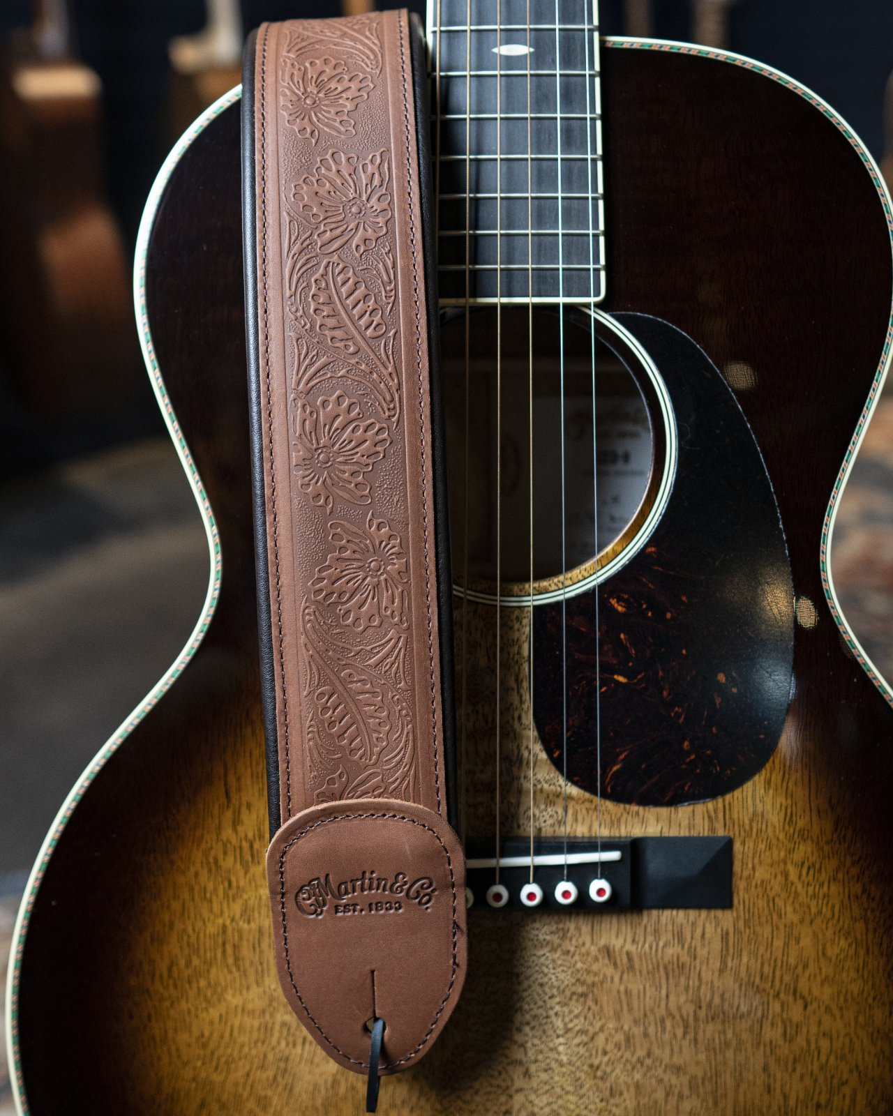 Martin Embossed Garment Leather Strap Brown
