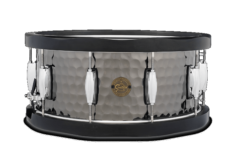 Gretsch 6.5X14 Hammered Black Steel Wood Hoop Snare Drum