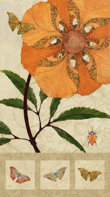 Northcott Euphoria Flower Panel 24 in Oranges