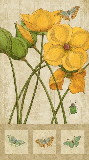 Northcott Euphoria Yellow Flower Panel 24
