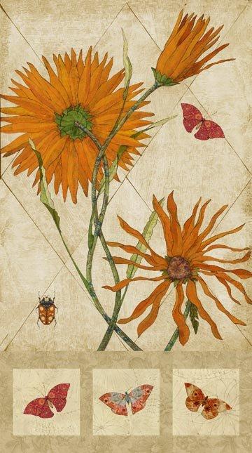 Northcott Euphoria Orange Flower Panel 24